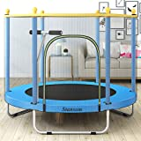Stansom 5FT Trampoline for Kids w/Safety Handrail, Mini Recreational Trampolines with Transparent Protective Net, Stable U Le
