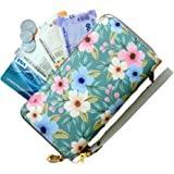 Boriya Mint Floral Print Leather Multi Slot Coin Purse Zipper Small Secure Card Case Money Wallet for Ladies