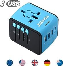 All in One Universal adattatore di alimentazione USB da viaggio con 3porte USB e caricabatterie da muro internazionali mondo spina di corrente alternata di tipo 8pin AC presa per multi-nazione Travel UK, EU, AU, Asia oltre 200paesi