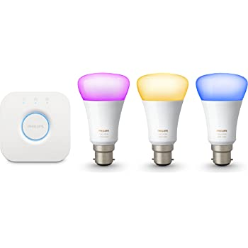 Philips Hue White and Colour Ambiance Wireless Lighting B22 Bayonet Cap Starter Kit, 3 x Philips Hue 9 W B22 Richer Colour Bulbs, 1 x Hue Bridge 2.0, Apple Home Kit Enabled, Works with Alexa