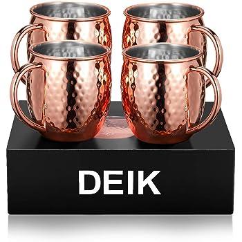 Deik Bicchieri di Rame Moscow Mule, set di 4, Tazza in rame Moscow Mule Mug, Handmade Pure, 530ml, Effetto regalo