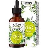 Vitamina D3 + K2 MK-7 en gotas - 5.000 U.I. por 5 gotas - 75ml (2550 Gotas) - Alta dosificación y Alta Bioactivdad con aceite