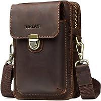 Contacts Crazy Horse Leder Crossbody Handytasche Hüfttasche Geldbörse Wallet Pocket Dunkler Kaffee