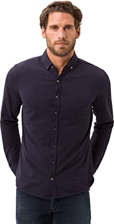 BRAX Men's Style Dave Cosy Jersey Button Down Casual Modern Fit Shirt