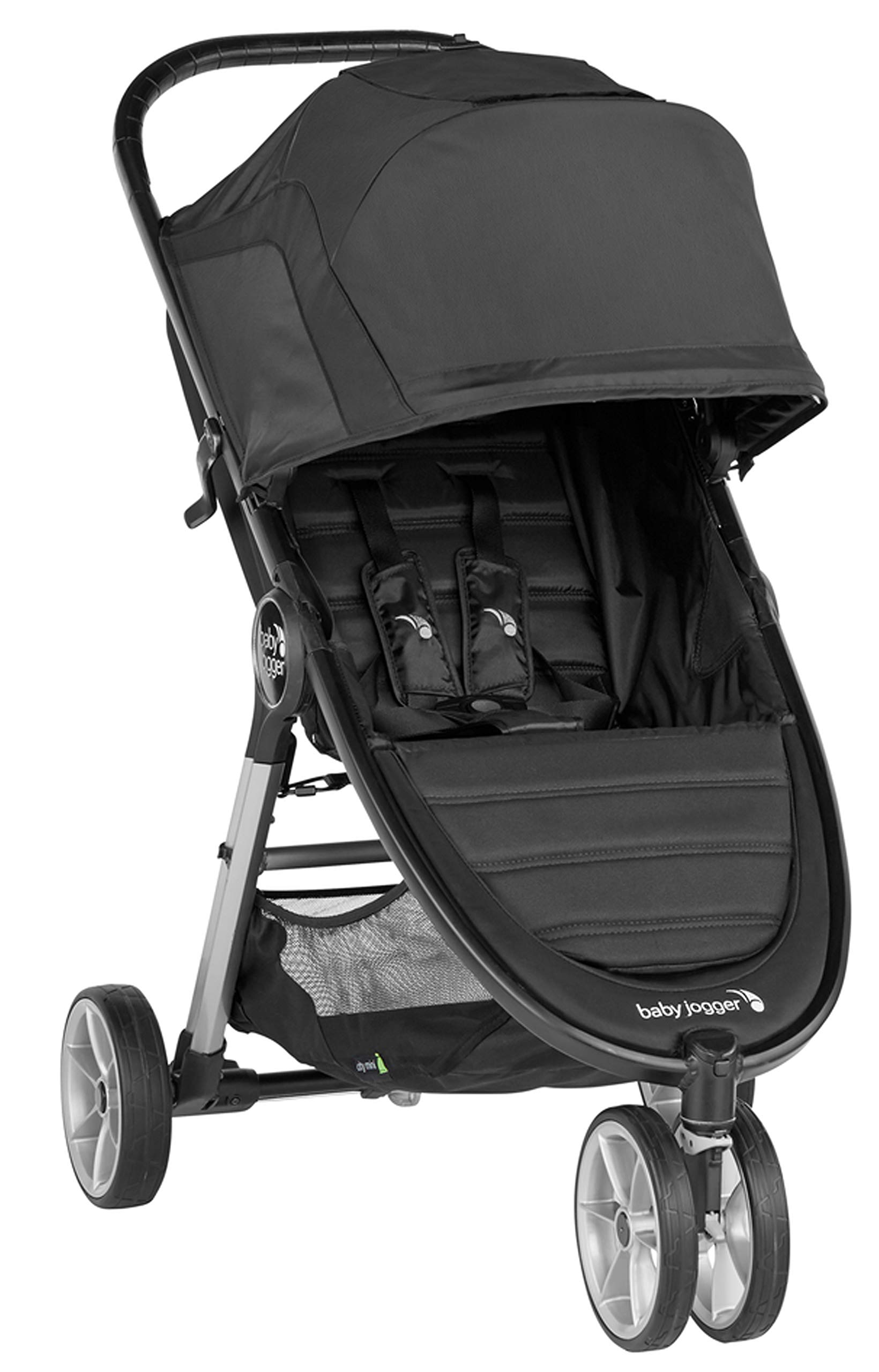 baby jogger City Mini 2 Single Stroller Jet Baby Jogger The baby jogger city mini 2 has an all new lightweight and compact design with the signature one-hand compact fold, with an auto-lock it's remarkably nimble and ready for adventure Lift a strap with one hand and the city mini 2 folds itself: simply and compactly. The auto-lock will lock the fold for transportation or storage The seat, with an adjustable calf support and near-flat recline, holds a child weighing up to 22kg and includes a 5-point stroller harness to keep them comfortable and safely secured 1