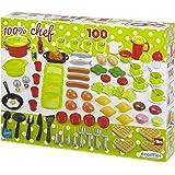 Jouets Ecoiffier – 2659 - Coffret dînette 100 % Chef Multicolore – Vaisselle, Ustensiles de Cuisine et Aliments – 100 Pièces