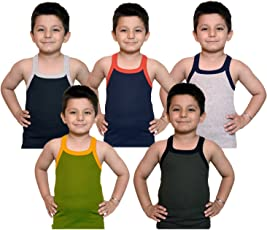 Kids Basket Boys Pure Cotton Multicolor RIB Vest Pack Comfort Innerwear Pack Of 5