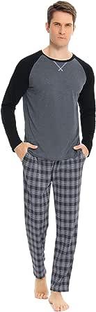 Hawiton Pigiami Uomo Lungo Set Pigiami Due Pezzi con 2 Tasca dei Pantaloni Lunghe Cotone Pigiama Uomo Invernale Autunno Classici Completino Casual per Casa