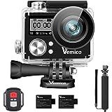 Vemico Action Cam, Action Kamera 4K WiFi Sports Cam Wasserdicht Camera Unterwasserkamera Helmkamera 16MP Ultra Full HD mit 2.4G Fernbedienung und 1050mAh Wederaufladbare Batterien und Selfie Stick