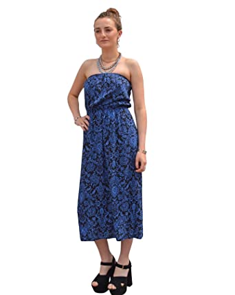 c506283c836 White Label Strapless Bandeau Midi Dress In Blue Black Floral Print   Amazon.co.uk  Clothing