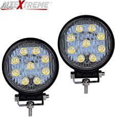 AllExtreme 9 LED 27W Round Fog Light with Mounting Bracket for Car, Motorcycle, SUV, ATV and Outdoor Applications - 4 Inch Flood Beam Auxiliary Waterproof Work Lamp (White, Pack of 2)