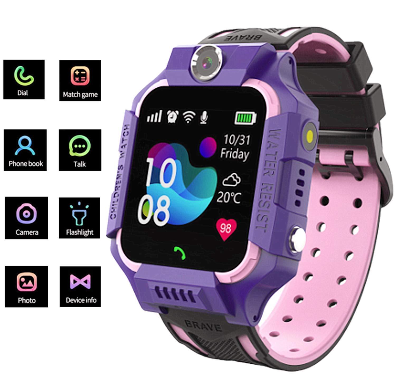 linyingdian Smartwatch Niños,Reloj Inteligente Niños con Flashlight, IP67 LBS SOS, Cámara, Smartwatch con Ranura para… 1