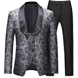 Sliktaa Men's Suits 3 Pieces Formal Classic Business Wedding Dress Button Down Casual Jacket Vest and Trousers