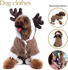 Hunde-Bekleidung mit Rentier-Design, Weihnachtskleidung für Hunde, Kapuzenpullover/Jumpsuit für Draußen
