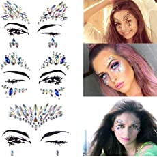 OKASU 3 Pcs Rhinestone Face Gems Sticker Face Jewels for Face Decorations Temporary Tattoo,Mix Style