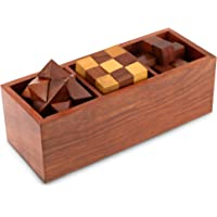 Shalininda 3-In-One Wooden 3D Puzzle Games Set