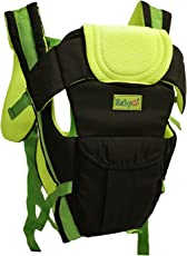 Babygo Adjustable 4-in-1 Baby Carrier with Comfortable Head Support (Black-Green)