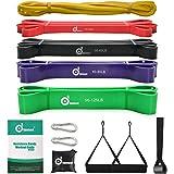 Odoland Fitnessbandenset, pull-up weerstandsband in 5 verschillende treksterktes, expander-banden, set incl. optrekband, weer