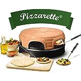 Emerio Pizzaoven, PIZZARETTE het origineel, handgemaakte terracotta kleikap, gepatenteerd design, voor mini-pizza, echt gezin