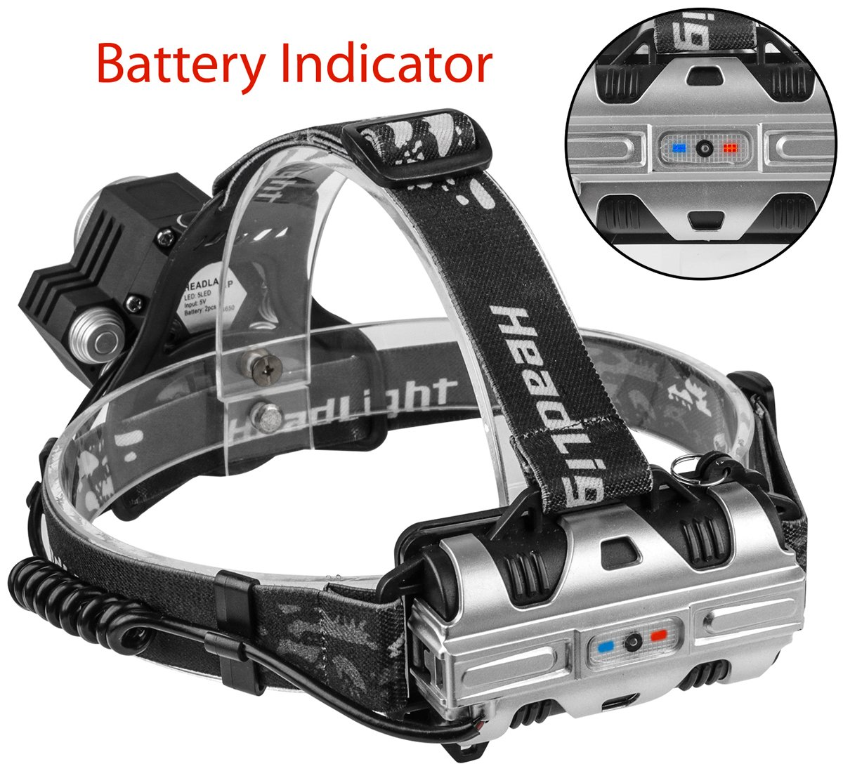 Led Head Torch Headlight 5 Super Bright T6 Bulb Headlamp