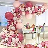 Ballong valvkrans kit, bröllopsdekoration ballong-set med guldkonfetti latexballongkedja, bindningsverktyg, partyballonger fö