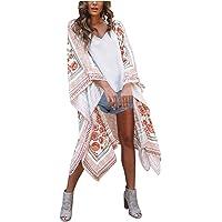 Modaworld Cardigan Lungo Donna in Chiffon Donna Copricostume Stampa Fogliare Donna Mare Kimono Bikini Kimono Estivo…