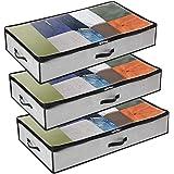 GoMaihe Sac de Rangement Vetement Lot de 3, Rangement sous Lit Grande Non-Tisse Sac Boite Tissu Poignee pour Couette Vetement