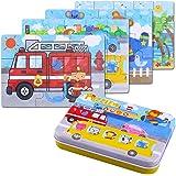 BBLIKE Kinderpuzzle Spielzeug, 64Pcs Puzzles für Kinder, Vier schwierigkeitstufen Lernspielzeug Spiel für Kinder 3 4 5 Jahren Alt(Auto)