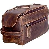 KomalC Original Buffalo Leder Unisex Kulturbeutel Travel Dopp Kit (Distressed Tan)