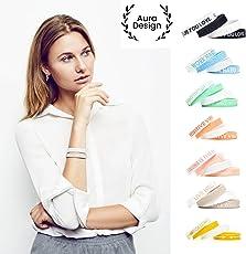 Aura Design Damen-Armband   Silikonarmband   Sportarmband   Fitness-Armband   Armband für Damen   4 Armbänder   180 mm