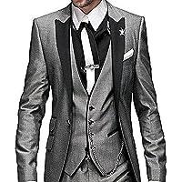 Solovesdress Herren Groomsmen Blazer Dreiteilige Herren Anzug Smoking Jacke Tux Weste