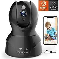 Wlan IP Kamera,KAMTRON HD WiFi Überwachungskamera,mit 350°/100°Schwenkbar,Home und Baby Monitor mit Bewegungserkennung, Zwei-Wege-Audio, Nachtsicht, unterstützt Fernalarm und Mobile App Kontrolle