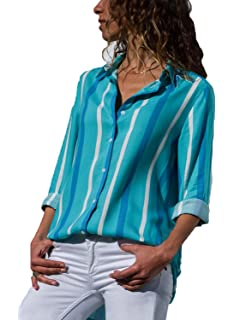 743a33e1ebcfa6 FIYOTE Damen Kariertes Langarm Hemd Karohemd Hemdkleid Langarmshirt  Blusenkleid Oversize Cardigan Top Shirtkleid Karo Kleid Hellblau