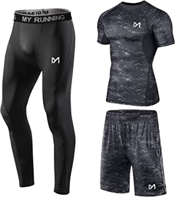MEETYOO Men's Compression Shirt, Sport Leggings Fitness Shorts Gym Tight Running Pants Base Layer Top for Workout Training