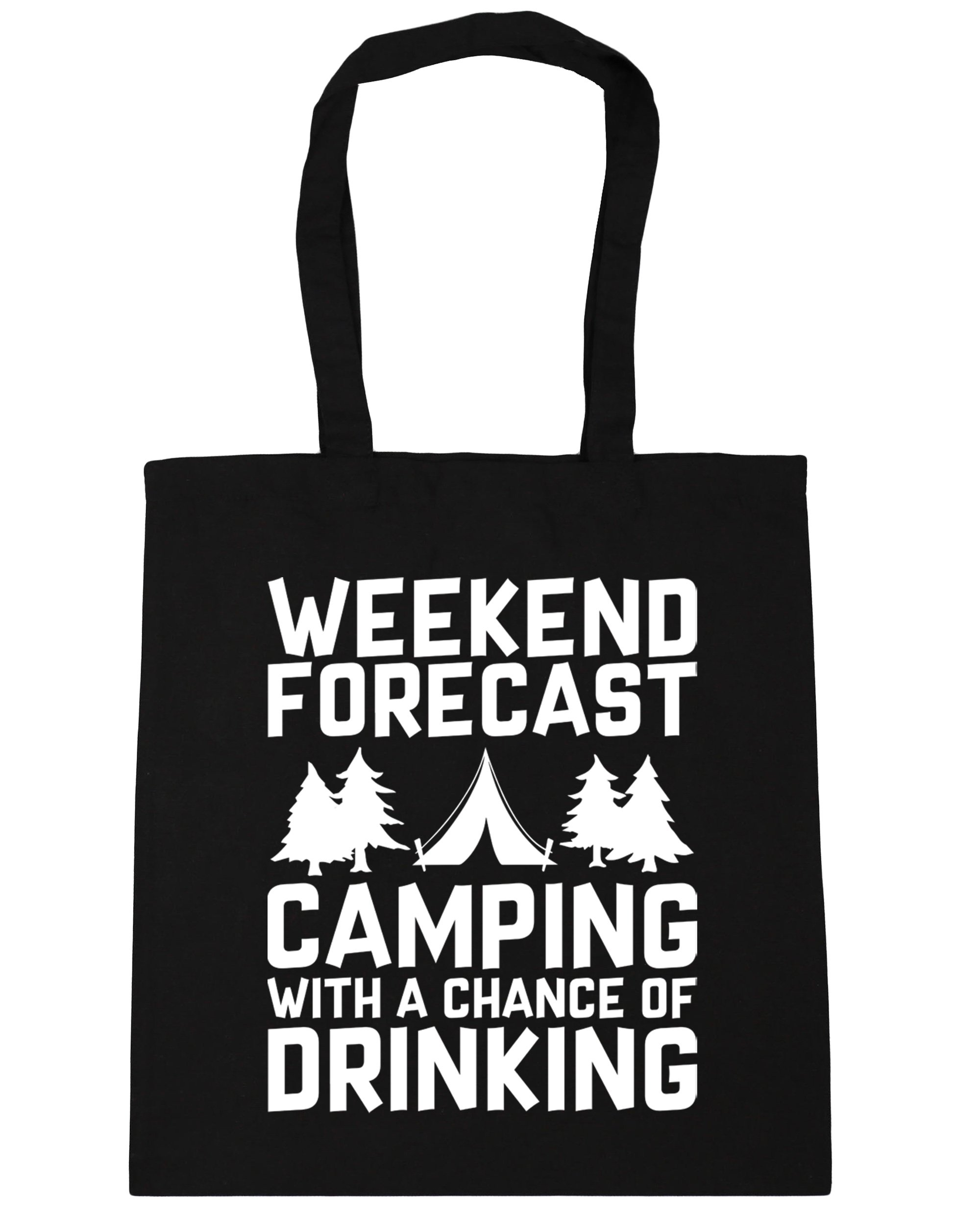 HippoWarehouse Weekend Forecast Camping With a Chance of Drinking Tote Shopping Gym Beach Bag 42cm x38cm, 10 litres 1
