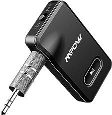Mpow Bluetooth Empfänger, [EIN/AUS Taste,Neues Design] tragbare kabellose Audio Adapter, Freisprecheinrichtung Blutooth KFZ Set für Auto Lautsprecher/Heim Stereoanlage, mit 3.5mm Aux Audio Ausgang