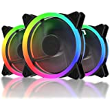 upHere 120mm RGB LED Ventilateur pour Boîtiers PC Ultra Calme avec Télécommande- 3 Pack(RGB123-3)
