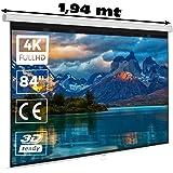 """Pantalla de proyección Manual Mural de 84"""" 16:9 Luxscreen Superficie Blanco Mate de Gran luminosidad para proyector Compatibl"""