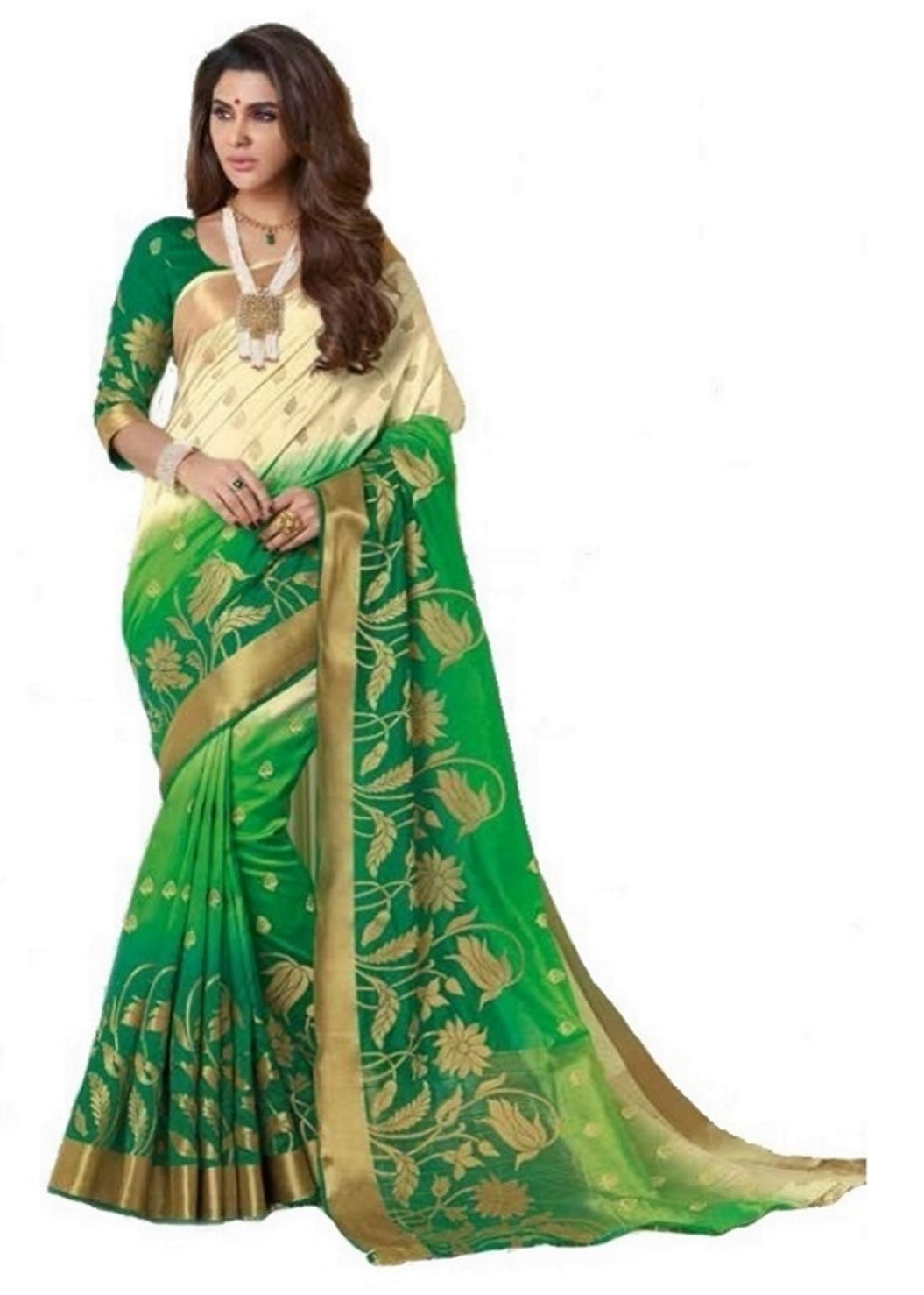 e506c527fda07f Rajguru Raw Silk Saree With Blouse Piece (RSP-784-heena5 Cream to ...