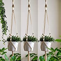 ecofynd Macrame Cotton Boho Plant Hanger [Without Pot] | Rope Flower Pot Holder for Indoor Outdoor Balcony Gardening…