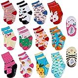 Lictin 14 Pairs Anti-slip Toddler Socks Baby Infants Socks Assorted Kids Socks Animal Print Girls Socks Fun Design Colored So