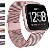 Faliogo metalen band compatibel met Fitbit Versa band/Fitbit Versa 2 band, roestvrijstalen vervangende polsband compatibel me