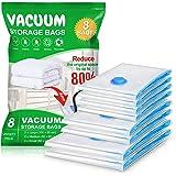 Vacwel 8 Pièces Sacs de Rangement sous Vide 2L (100 x 80 cm) + 2M (80 x 60 cm) + 4S (60 x 40 cm) Réutilisable pour Vêtements,
