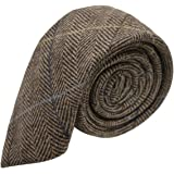 Walnut Brown Herringbone Check Tweed Tie