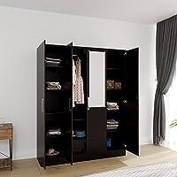 Artemis Collection by DF2H Tyche Engineered Wood 4 Door Wardrobe with Mirror, Wenge
