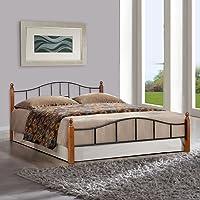 FurnitureKraft Kansas Queen Size Metal Bed (Glossy Finish, Multicolour)