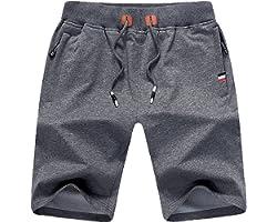 Mens Shorts Gym Running Summer Sports Shorts Zip Pockets
