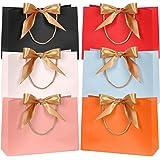 FYY 6 pièces Sacs-Cadeaux, Sacs-Cadeaux en Papier coloré imperméables avec Ruban d'arc doré pour la fête de Mariage Célébrati