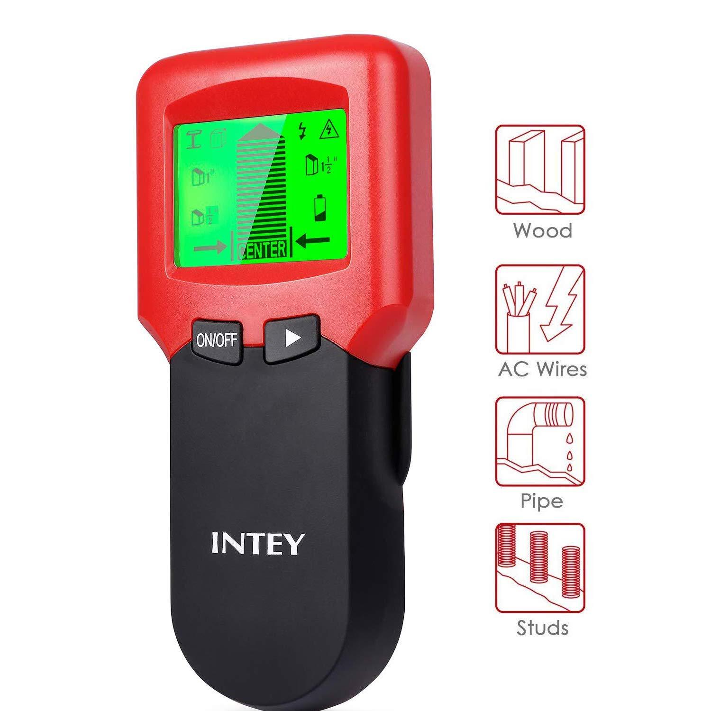 INTEY 3 N1 Detector de Pared, Metal Stud Pinpoint, Madera y AC Cable, Detector de Metales Detector Escš¢ner de Pared Clš¢Sico Rojo y Multifuncional, Retroiluminaciš®n LCD, Indicaciš®n de Distancia