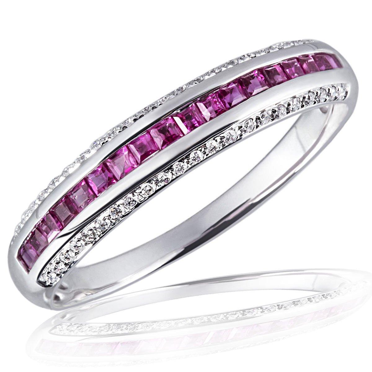 Goldmaid Donna-anello Memoire vaquetas 14 carati 585 oro bianco 18 rubini 44 brillanti si/h kt 0,14